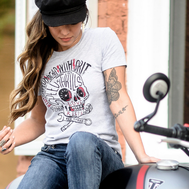 Red Torpedo Speed Punk (Womens) Grey T-Shirt