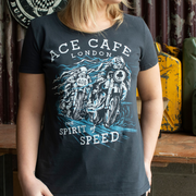 145 Ace Cafe Spirit of Speed (Womens) Black T-Shirt