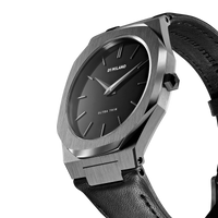 Ultra Thin Leather 40 mm - Gun Metal