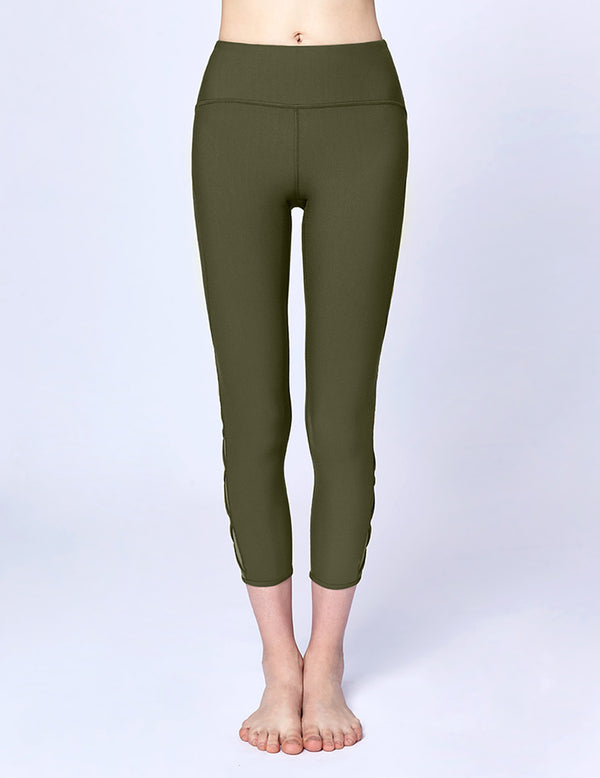 easyoga LA-VEDA Ethereal Lattice Cropped Pants - G30 Moss Green