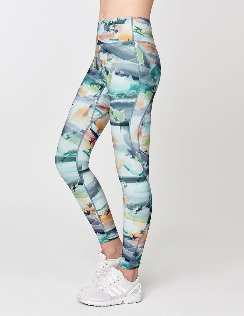 easyoga Lespiro Twin Stream Tights - F90 Bright Ink Clouds