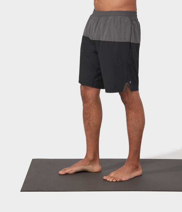 Manduka Apparel - Men's PRO Short - Classic Rise Colorblocked W/Liner - Black Combo