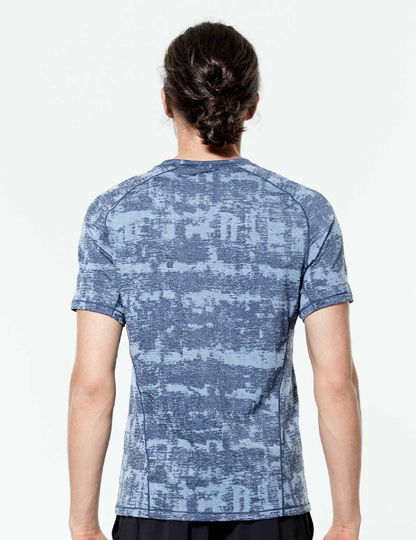 easyoga Lespiro Men's Ondes Athlete Tee - FC3 Brush Stroke Blue