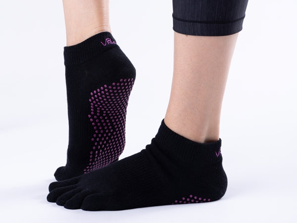 Vaken Grip Socks Full Toe-1 Pair/Pack - Black Dot Purple
