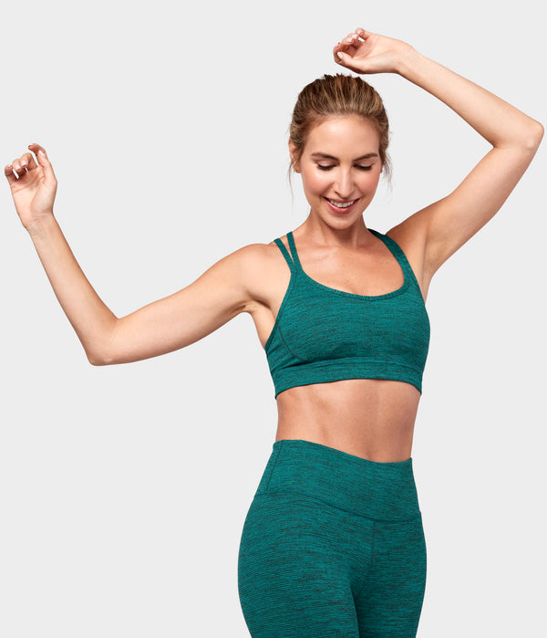 Manduka Apparel - Women's Cross Strap Bra 01 - Heather Emerald