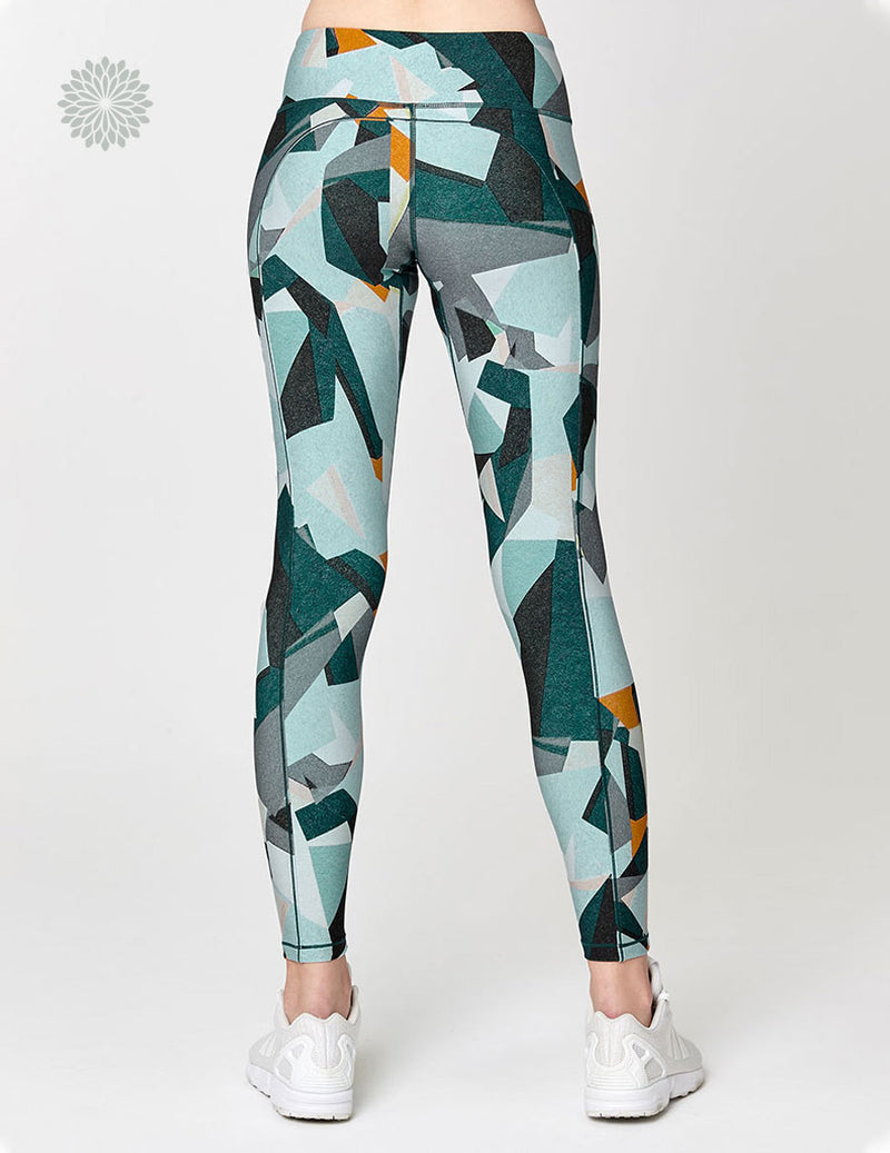 easyoga Lespiro Colori Sculpt Tights - F37 Green Geometry