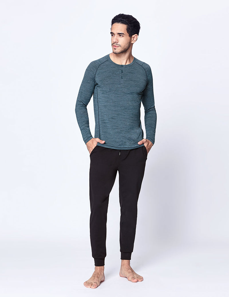 easyoga LA-VEDA Multipro Men's Henley  Long Sleeve - M25 M-Green Tigerstripe