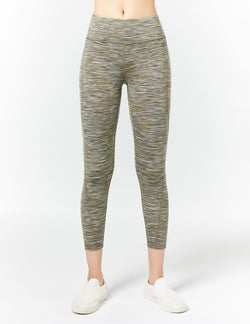 easyoga LA-VEDA Upright Cropped Tights - D65 Grass Stripe
