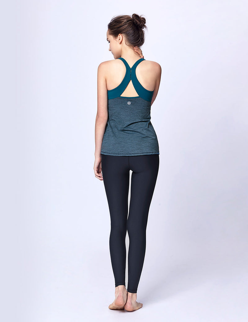 easyoga LA-VEDA Limber Up Layered Tank - M25 M-Green Tigerstripe