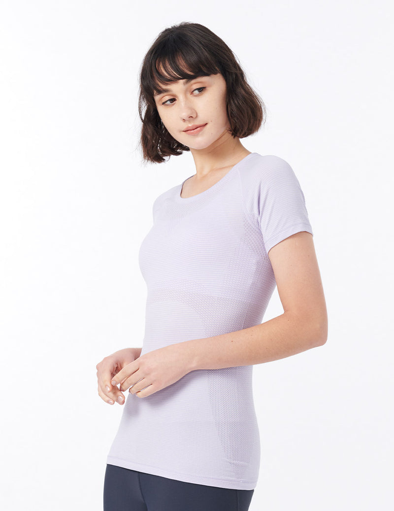 easyoga Lespiro Seamless Fulfill Tee - D47 Light Purple Stripe