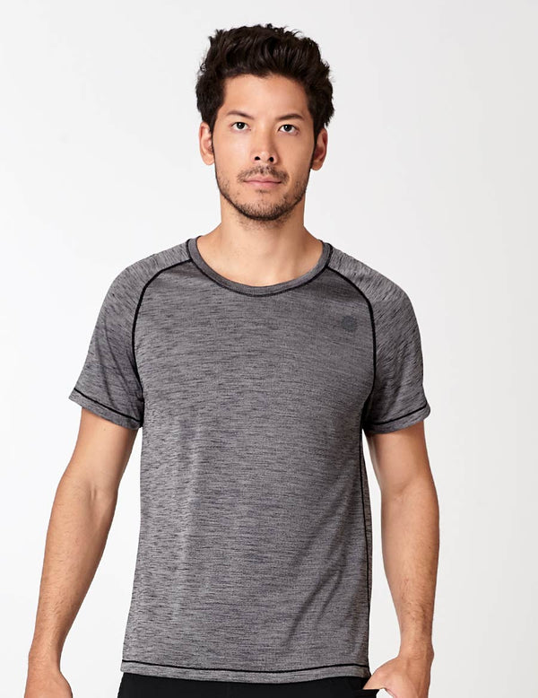 easyoga LA-VEDA Men's Fitted Tee - X04 Black/M-Gray