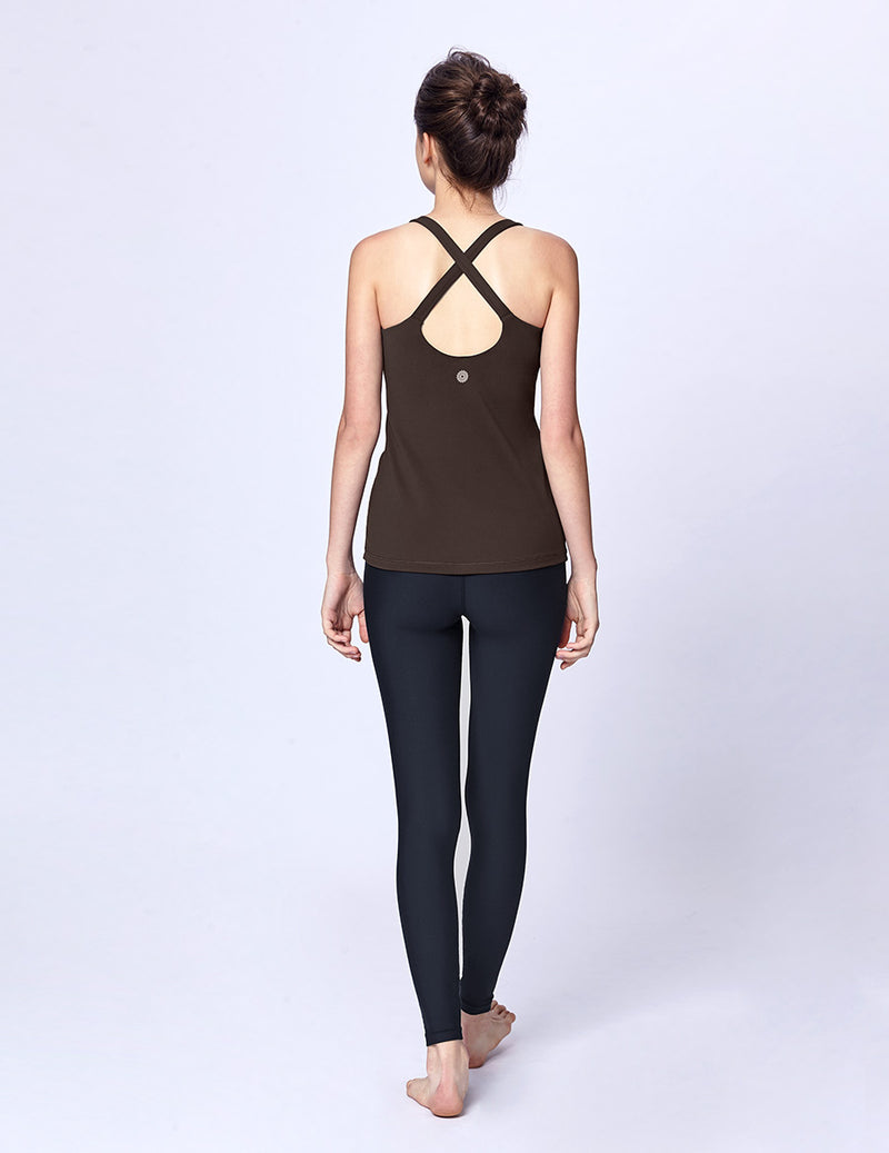 easyoga LA-VEDA Aqueous Drop Back Tank10 - C1 Dark Brown