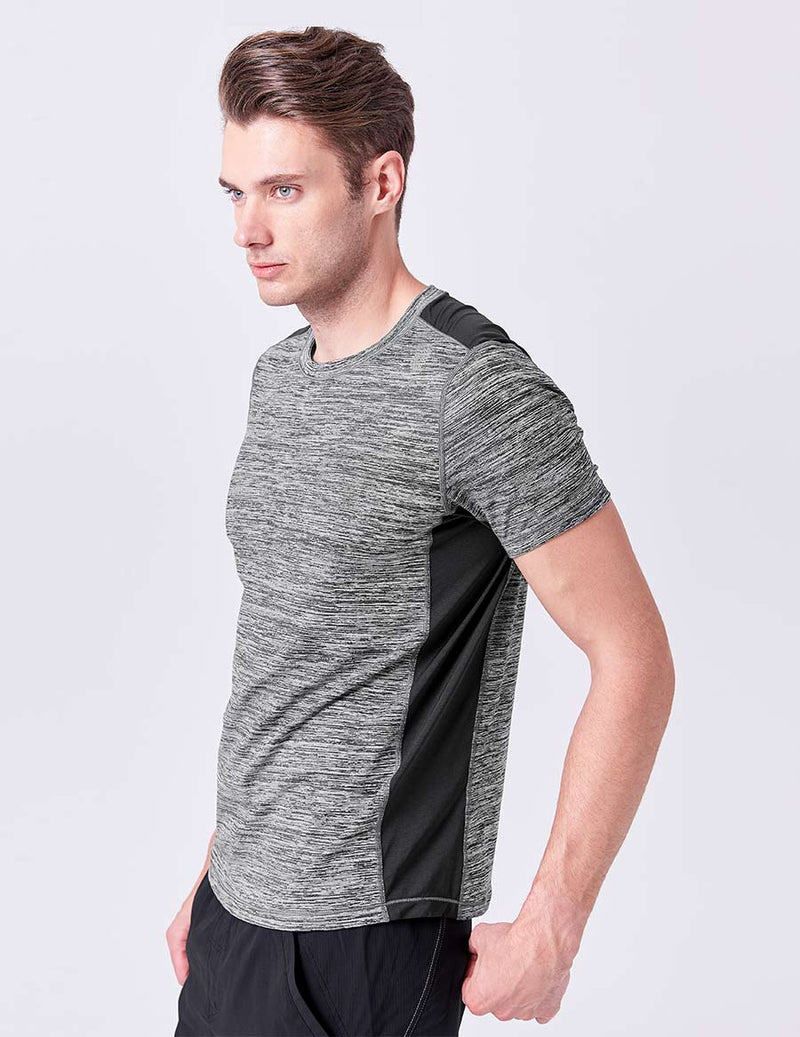 easyoga Lespiro Men's Motileme Sports Tee - D50 Black Gray Stripe
