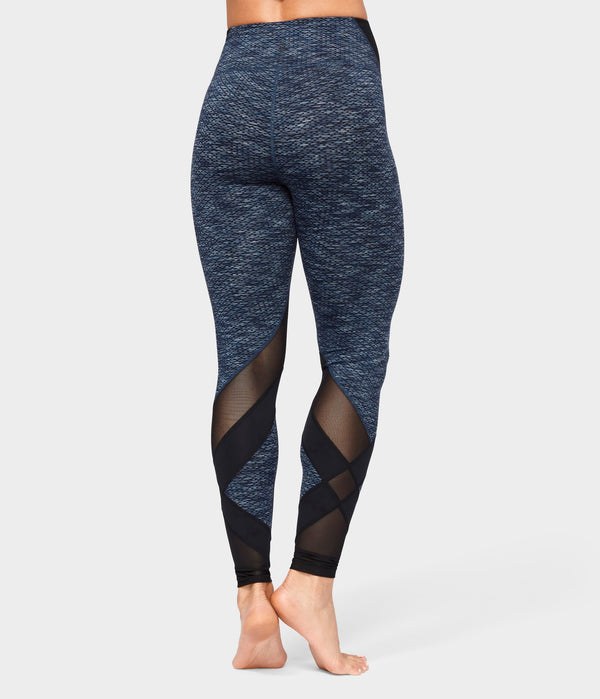 Manduka Apparel - Women's Movement Mesh Legging - Indigo Jacquard