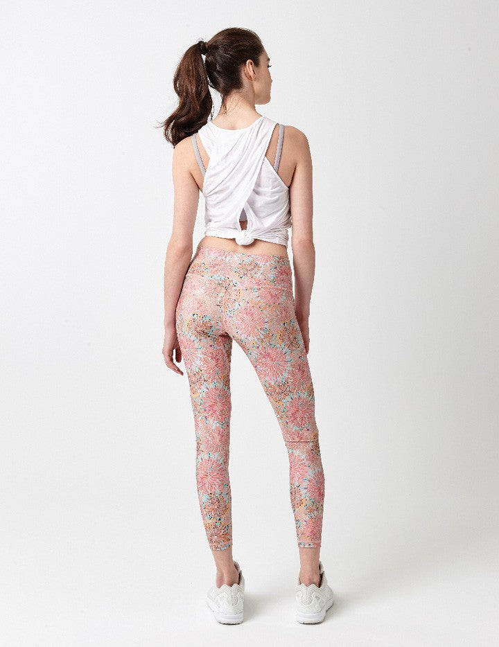 easyoga Lespiro Glossy Slim Legging2 - FB7 Sea of Flowers