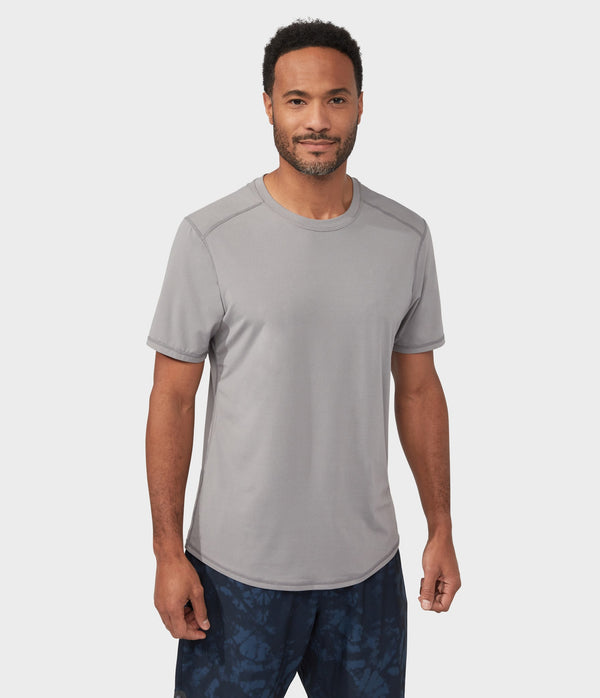 Manduka Apparel - Men's Pro Top - Tech Short Sleeve Tee - Silver Filigree