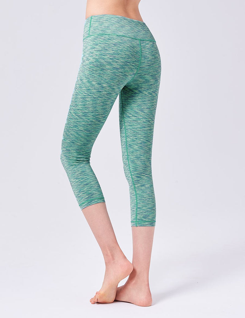 easyoga LA-VEDA Twiggy Core Capris1 - D57 Dark/Light Green Stripe