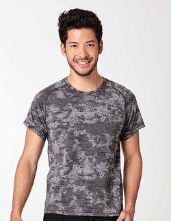 easyoga LA-VEDA Men's Action Tee - FA7 Devoré M-Gray