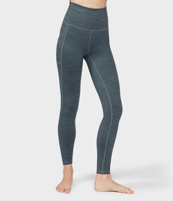 Manduka Apparel - Women's Essential Pocket Legging - Green IVY Melange