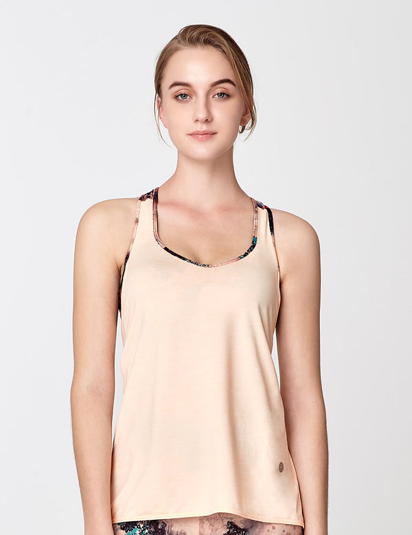 easyoga Lespiro Tie-UP Tank - M34 M-White Peach