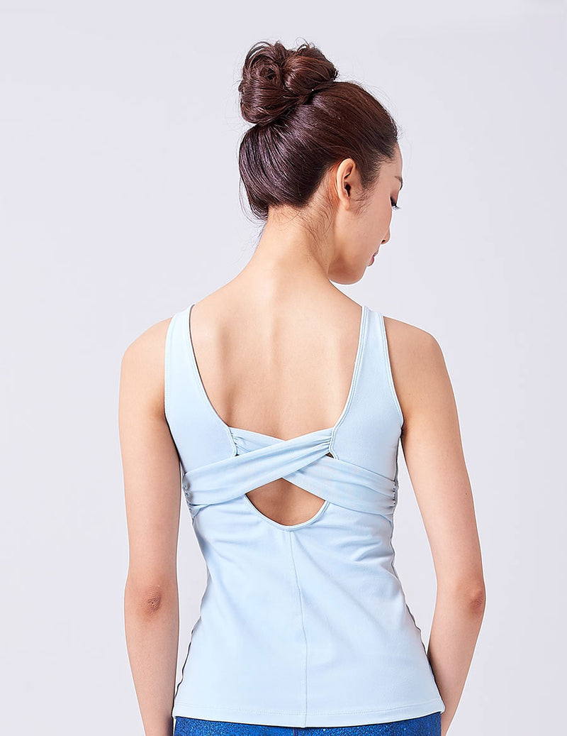 easyoga LA-VEDA Reflect Me Knotted Tank - B1 Light Blue