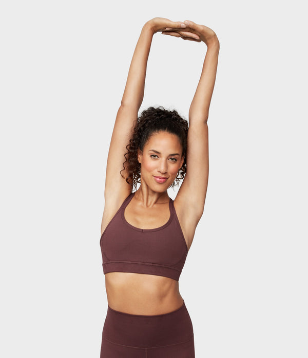Manduka Apparel - Women's Cross Strap Bra 01 - Dark Chestnut