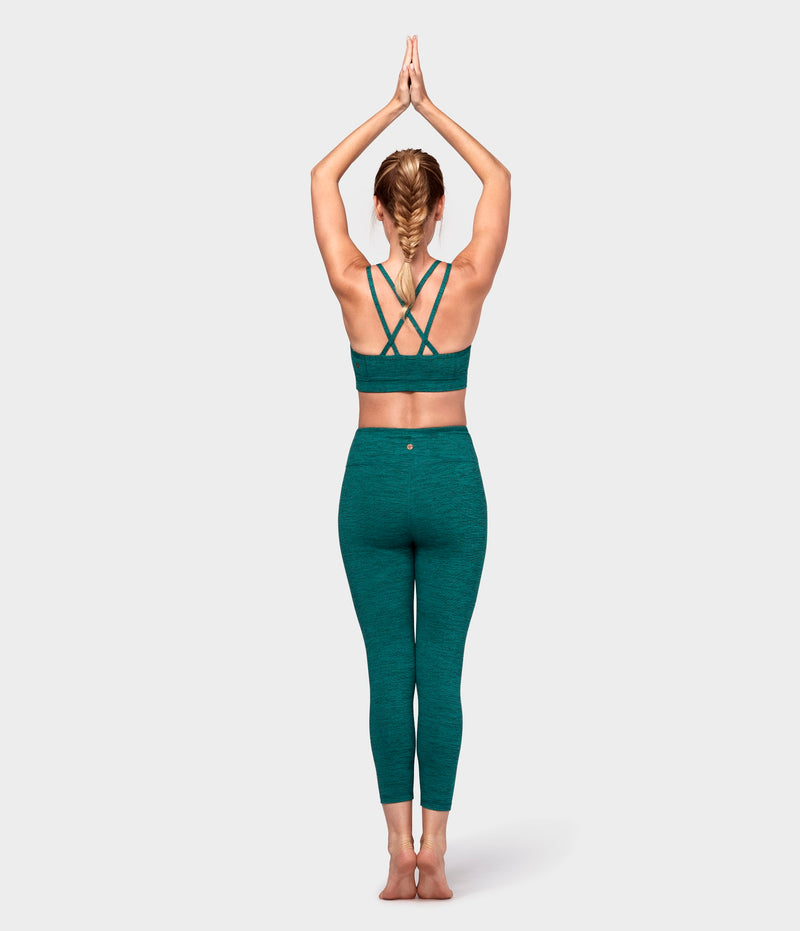 Manduka Apparel - Women's Essential Cropped Legging - Heather Emerald