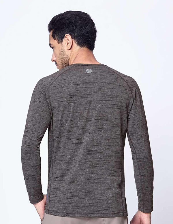 easyoga LA-VEDA Multipro Men's Henley  Long Sleeve - M26 M-Gray Tigerstripe