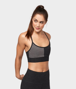 Manduka Apparel - Women's Eko Soft Blocked Bra - Dark Heather Charcoal