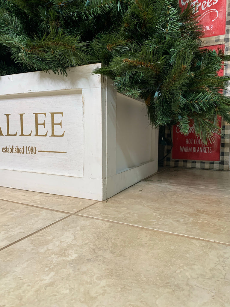 Personalized Tree Box, collapsible tree box, Personalized tree skirt, tree collar