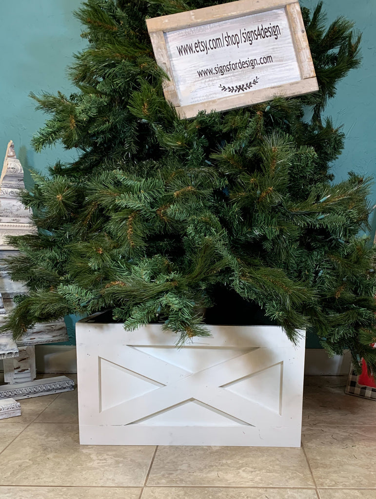 Farmhouse Vintage Christmas Tree Box, wood tree skirt