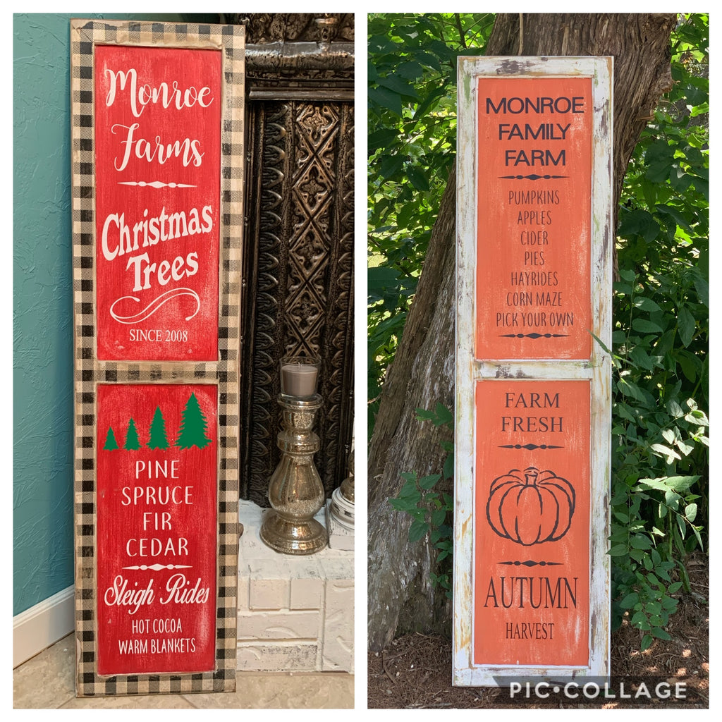 REVERSIBLE Porch Sign, LARGE Personalized