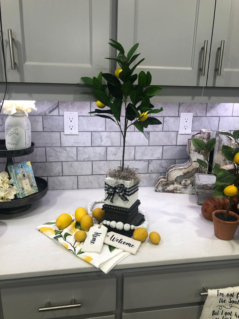 countertop lemon tree, faux lemon tree, tabletop lemon, lemon topiary, artificial lemon tree, lemon decor