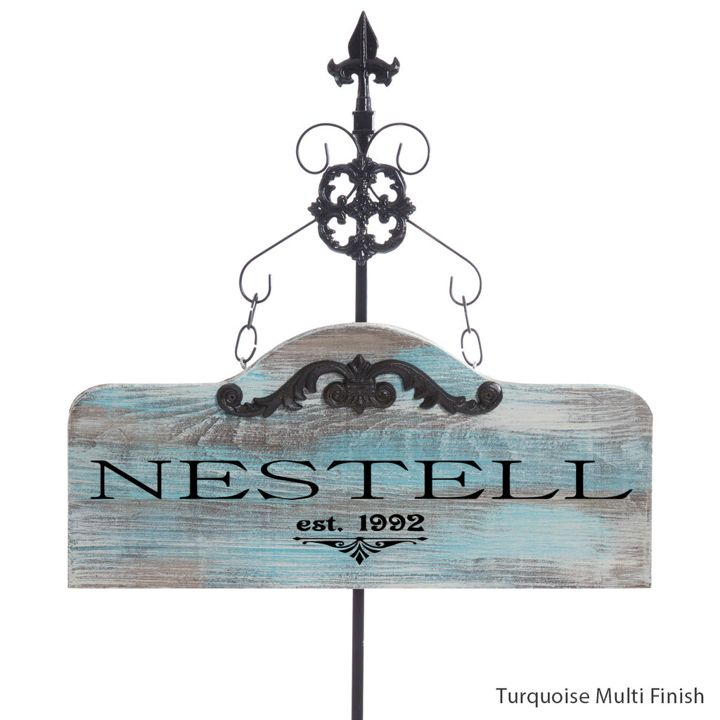 personalized humpback with stake sign by Signs for Closing Turquoise Multi Finish