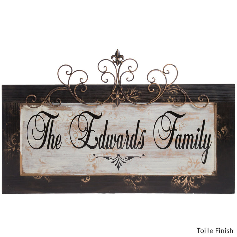 Personalized Plaque with Toille finish by Signs for Closing