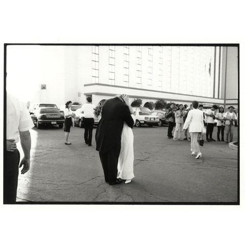 Kissing Couple Outside Car Park, Las Vegas - Jane Hilton