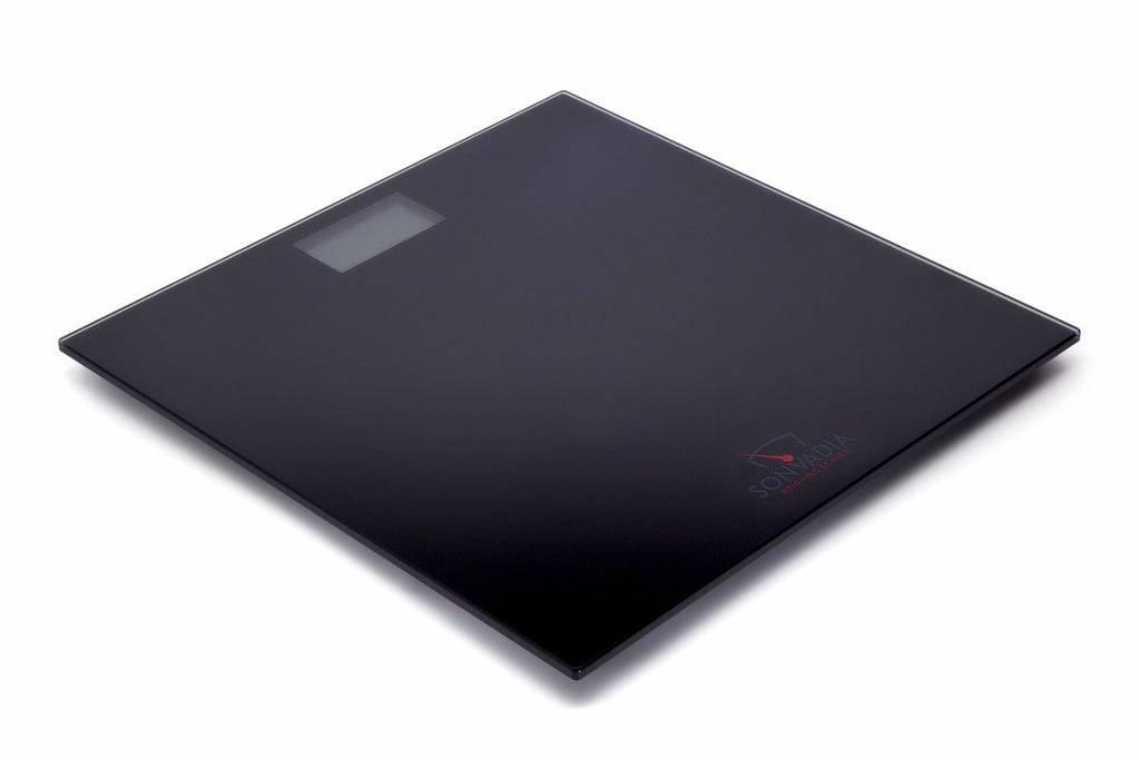SWS907 Black Ultra Slim Square Glass Digital Bathroom Scale - Large Display - Sonvadia Weighing Scales