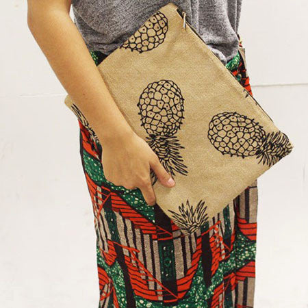 Handmade Oversized Pineapple Clutch (Hessian) - PINA
