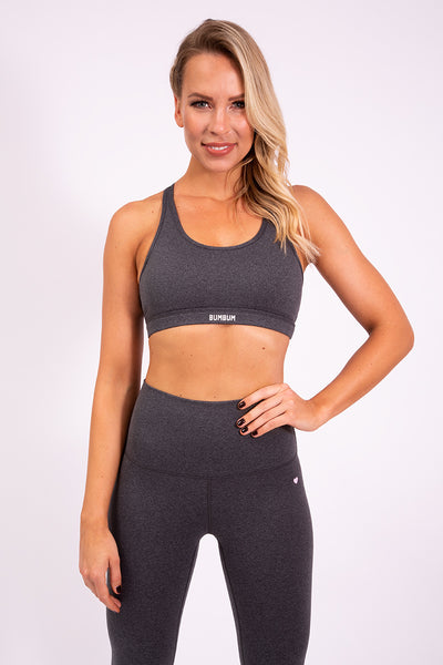 RACERBACK SPORTS BRA - DARK HEATHER