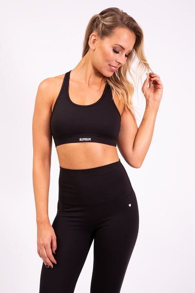 RACERBACK SPORTS BRA - JET BLACK