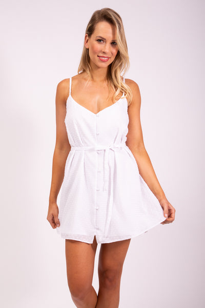 BUTTON DRESS - WHITE