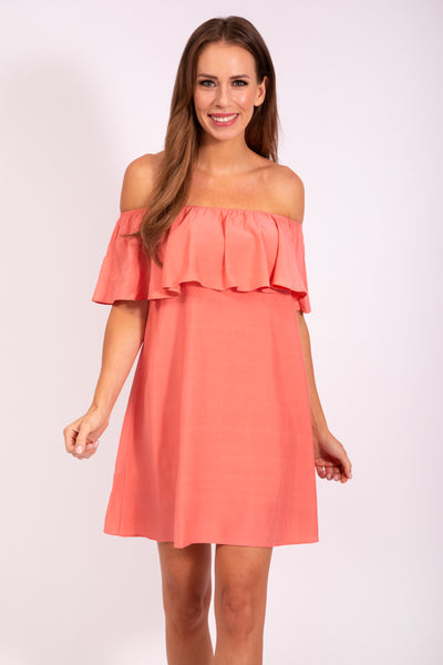 OFF SHOULDER DRESS - APRICOT