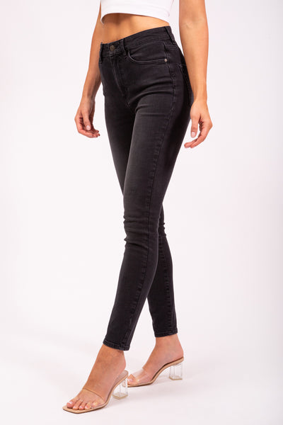 STRETCHY HIGH WAIST JEANS - WASHED BLACK