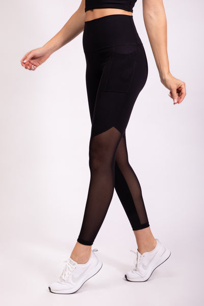 SIDE POCKET MESH TIGHTS - BLACK