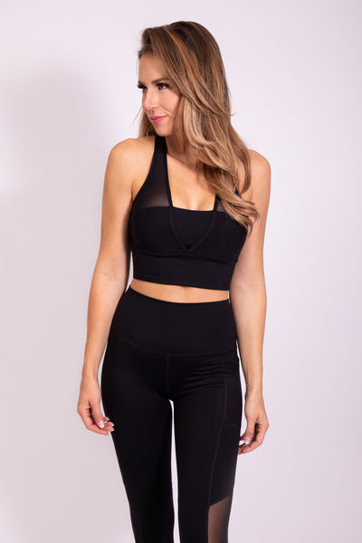 STUNNING BACK SPORTS BRA - BLACK