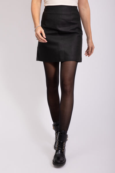 COATED SKIRT - BLACK