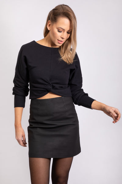 CROPPED SWEATER - BLACK