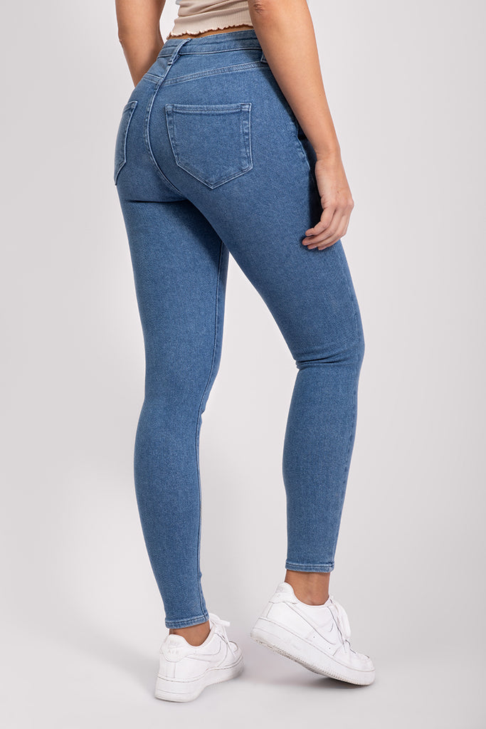 STRETCHY HIGH WAIST JEANS - MID BLUE
