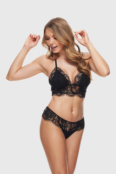 ROMANTIC LACE BRALETTE - PURE BLACK