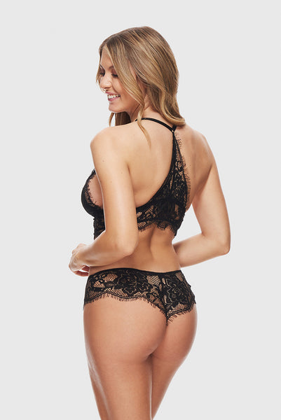 ROMANTIC LACE TANGA - PURE BLACK
